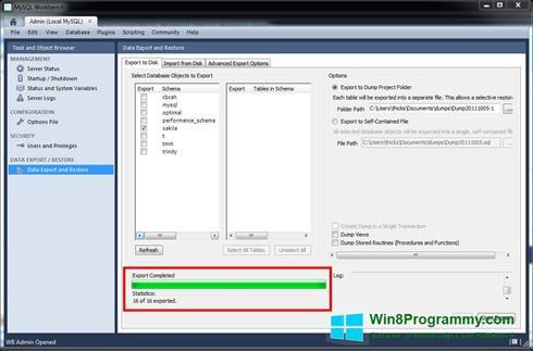 Скриншот программы MySQL Workbench для Windows 8