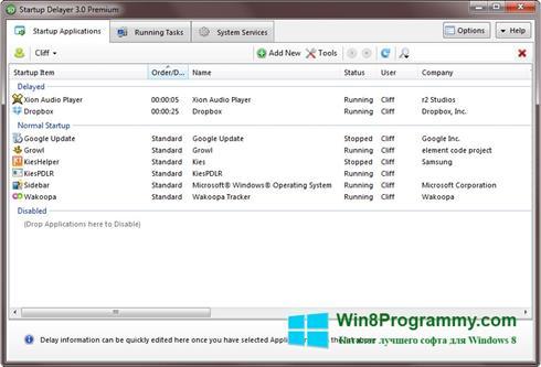 Скриншот программы Startup Delayer для Windows 8