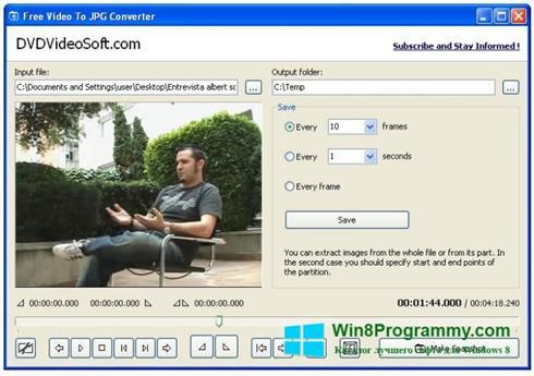 Скриншот программы Free Video to JPG Converter для Windows 8