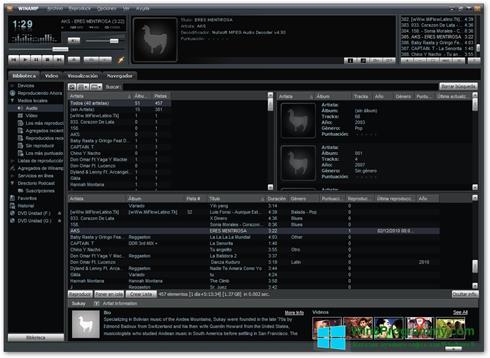Скриншот программы Winamp Pro для Windows 8