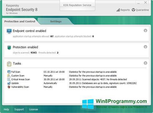 Скриншот программы Kaspersky Endpoint Security для Windows 8