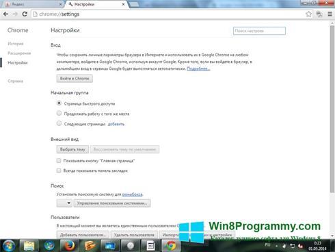 Скриншот программы Google Chrome для Windows 8