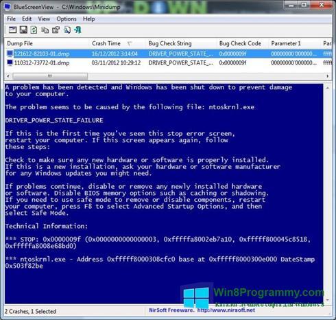 Скриншот программы BlueScreenView для Windows 8