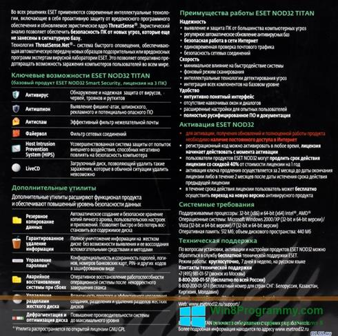 Скриншот программы ESET NOD32 Titan для Windows 8