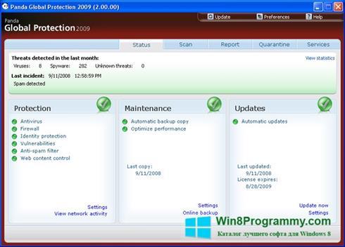 Скриншот программы Panda Antivirus Pro для Windows 8