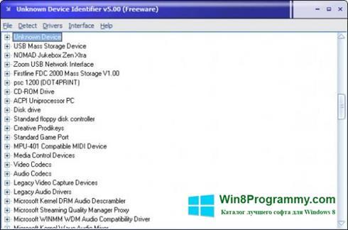 Скриншот программы Unknown Device Identifier для Windows 8