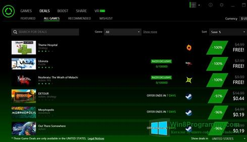 Скриншот программы Razer Cortex для Windows 8