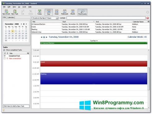 Скриншот программы Mozilla Sunbird для Windows 8