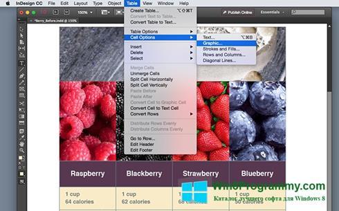 Скриншот программы Adobe InDesign для Windows 8