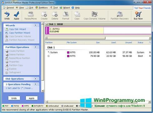 Скриншот программы EASEUS Partition Master для Windows 8