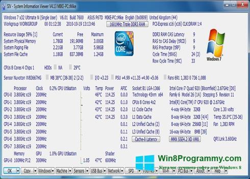Скриншот программы System Information Viewer для Windows 8